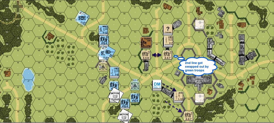 Turn 3 Brit 01 - Units fall back left Greenies in front.-proc