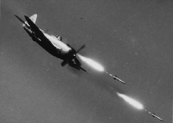 P-47 Thunderbolt firing rockets